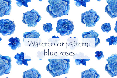 Hand-drawn pattern: blue roses