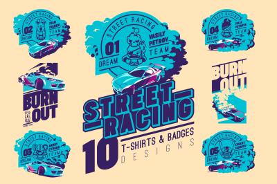 Street Racing T-Shirts Badges Bundle