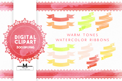 Warm Watercolor Ribbons Clipart