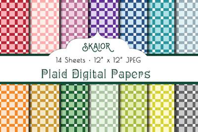 Rainbow Square Plaid Digital Papers