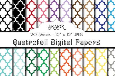 Rainbow Quatrefoil Digital Papers