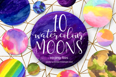 Watercolour Moons