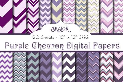 Purple Chevron Digital Papers Zigzag