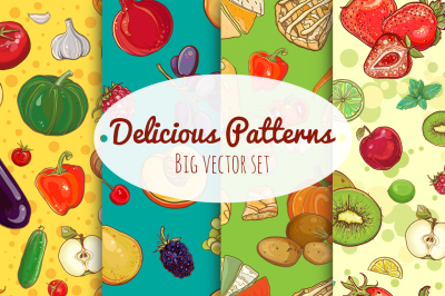 40 vector seamless patterns with food