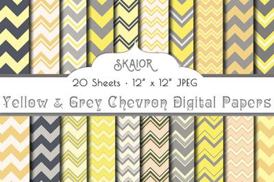 Yellow Grey Chevron Digital Papers