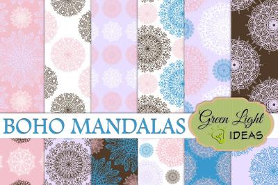 Boho Mandalas Papers, Mandalas Backgrounds
