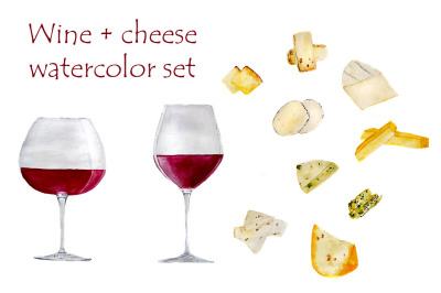 Wine+cheese in watercolor