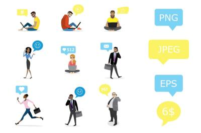Business people with smart gadgets