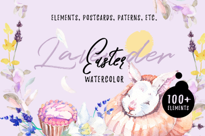 Lavender Easter Watercolor Bundle