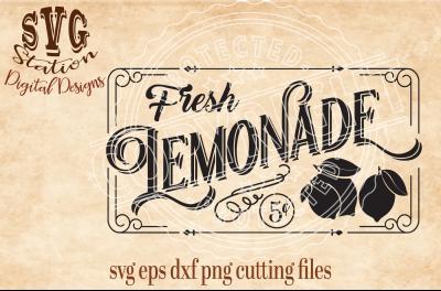 Vintage  Fresh Lemonade For Sale  / SVG DXF PNG EPS Cut File Silhouette Cricut