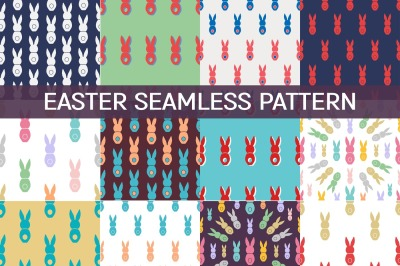 18 Seamless patterns with bunnies