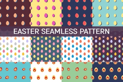 12 Seamless patterns with Easter Eggs