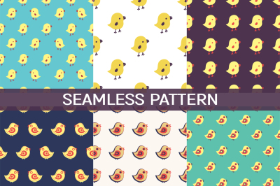 6 vintage seamless patterns with birds