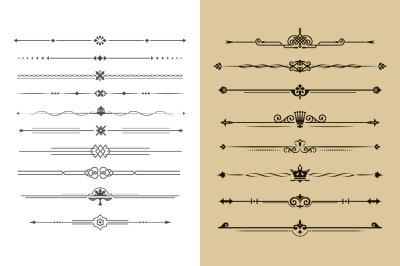 Set of calligraphical dividers