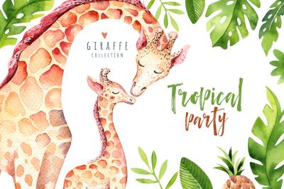 Giraffe collection. Tropical party