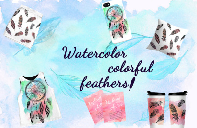 Watercolor colored feathers.