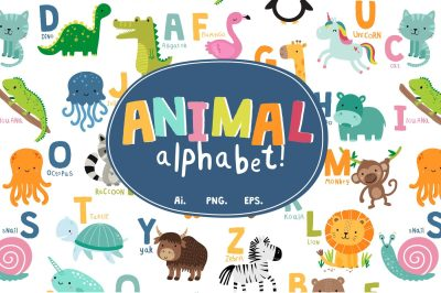 Animal Alphabet Vector Print Set