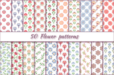 Flower patterns vector set