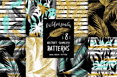 Golden Palm. 8 seamless patterns