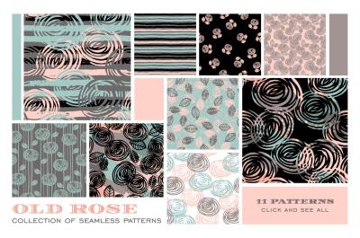 Old Rose. Seamless patterns.