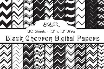 Black Chevron Digital Papers