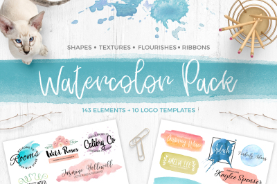 Watercolor Pack. Textures&Logos