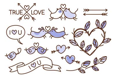 Hand drawn love themed illustrations