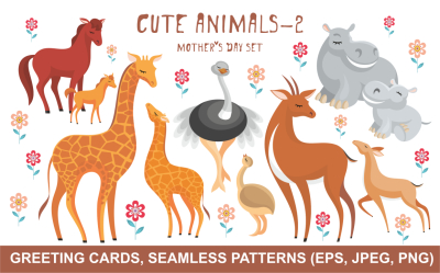 Cute animals - 2. Mother's Day set.
