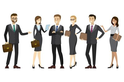Set of different business people