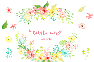 Watercolor Clipart Little Miss