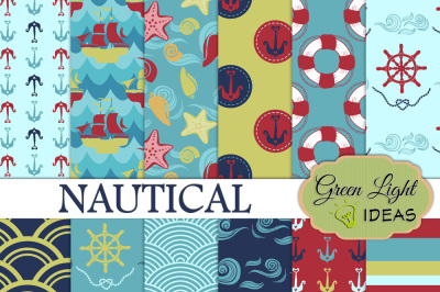 Nautical Digital Papers, Marine Backgrounds