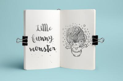 Funny monster doodle