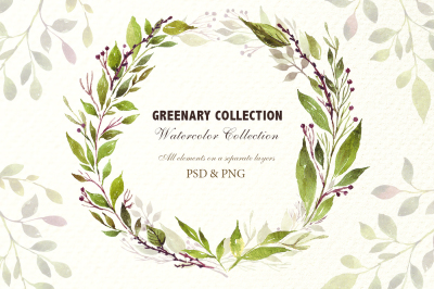 Watercolor floral green elements