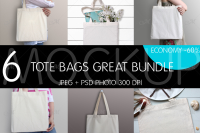 Tote Bags Great Bundle. PSD + JPEG