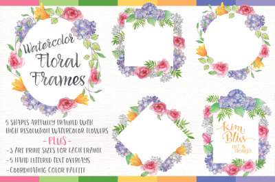 Watercolor Floral Frames & Text Overlays