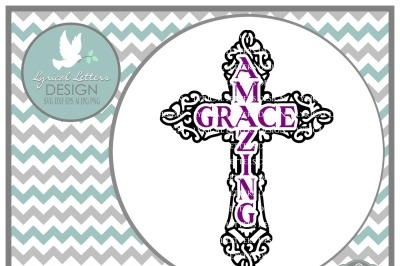 Amazing Grace Cross Design LL103 E  Cut-File in SVG DXF EPS AI JPG PNG
