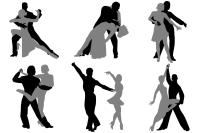 Dancing couples silhouette