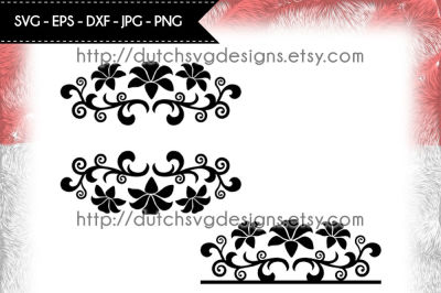 2 Split monogram cutting files with flowers, in Jpg Png SVG EPS DXF, Cricut svg, Silhouette cut file, flourish svg, svg cut file