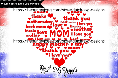 Mom heart cutting file, mom svg, mothers day svg, mother svg, heart
