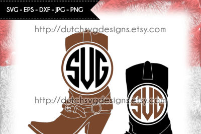 Monogram boots cutting files, in Jpg Png SVG EPS DXF, Cricut & Silhouette, boots svg, cowboy boots svg, monogram svg, boots clipart