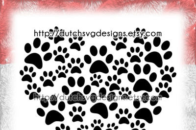 Cutting file pawprints in the shape of a heart, in Jpg Png SVG EPS DXF, for Cricut & Silhouette, paw prints pet cat dog, plotter