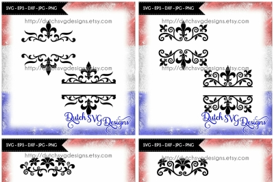 Special offer: 4 listings for the price of 3!!! 8 Split monogram cut files, in Jpg Png SVG EPS DXF, for Cricut & Silhouette