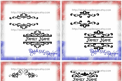 Special offer: 4 listings for the price of 3!!! 8 Split border cutting files, in Jpg Png SVG EPS DXF for Cricut & Silhouette