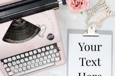 Grey & Pink Typewriter Styled Stock Photo