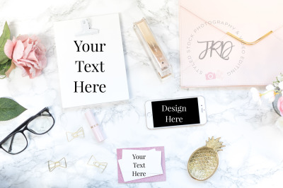 Business Card Mockup Styled Stock Photo Marble and Pink