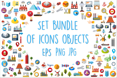 Set  bundle  of  isometric flat and  silhouette web icons