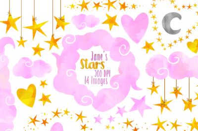 Watercolor Pink Clouds and Stars Clipart