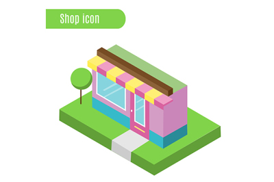 Cartoon store, shop, cafe. Vector illustration. Isometric icon, city infographic element