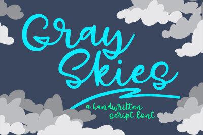 Gray Skies: handwritten script font