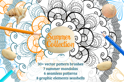Summer collection mandala vector brushes